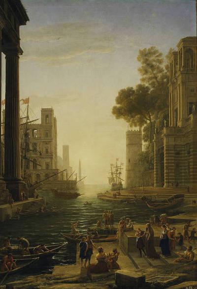 Paisaje con el embarco en Ostia de Santa Paula Romana en el puerto de Ostia